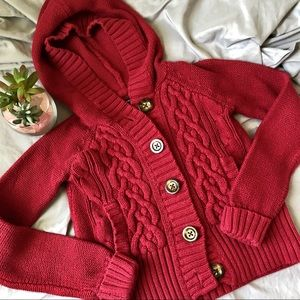 Gap Button Up Hooded Cable Knit Sweater M 8 Red